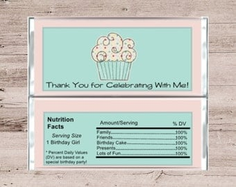 Pink Cupcake Birthday Favor-Birthday Thank You Favor-Chocolate Bar Wrapper-Candy Bar Wrapper-Cupcake Candy Wrapper-Favor Wrapper-Favor