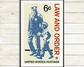 Law and Order, Police poster, police decor, police wall art, police gifts, police art, law wall art, law and order gifts, US postage stamps