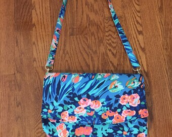Convertible Clutch, Blue Green Pink Convertible Handbag, Amy Butler Designer Fabrics, Small Handbag, Floral Print Clutch