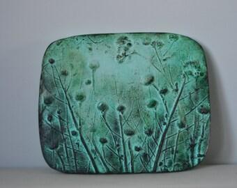 Botanical pendant, leaf tile, small wall art, gifts for Home, gardener gifts, leaf plaster cast, botanical cast,