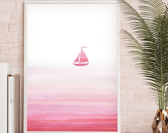 Sailboat Wall Print, Sailboat Art, Beach Watercolor Art, Sailboat Room Decor, Nautical Boat Print, Ocean Coastal Art, Marine Wall Art