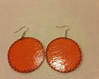 orange wooden earrings
