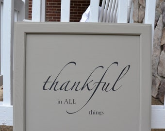 Thankful in all things handmade cabinet door wall sign