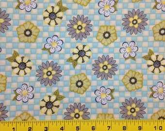 Fabric Honey Bee Mine Floral Cyan Checkerboard, Honey bee mine collection by Henry Glass