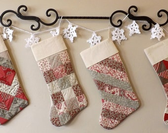 Quilted Christmas Stockings set of 4