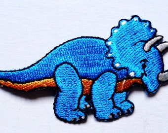Embroidered Iron-On Applique TRICERATROPS Dinosaur, 3 x 1+1/2 inch