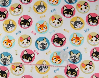 Cotton Fabric,Quilting Print Fabric,Cat Fabric,Colorful  Cats Fabric , Fabrics by the Yard-Half Yard