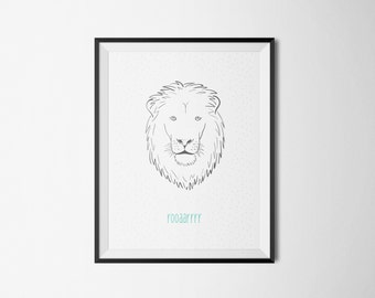 lion roar animal baby kids nursery wall art illustration print decor gender neutral personalised