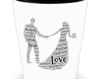 Bride and Groom Dancing Newlywed word cloud styled on Cool Ceramic Shot Glass Makes a Perfect Gift for the woman you love!