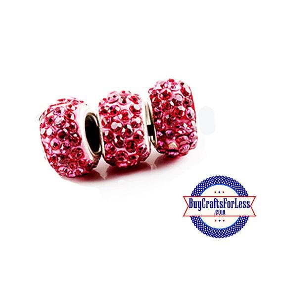 Glittery Glass Beads, PINK, 6 pcs