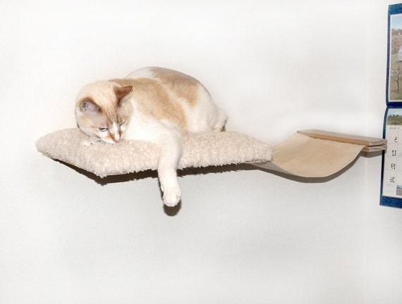 cat hammock bed combo kitty cat wall shelves by catwallfurniture. Black Bedroom Furniture Sets. Home Design Ideas