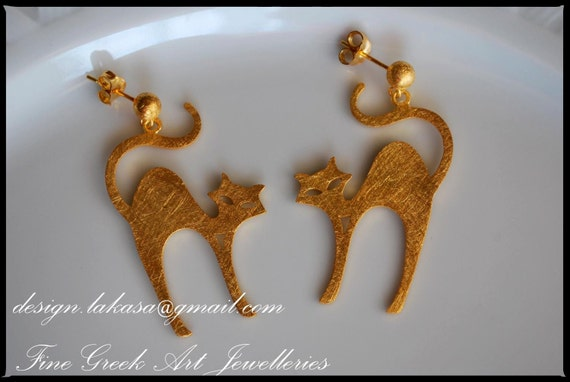 cat earrings sterling silver gold plated handmade jewellery lakasaeshop i love cats for her gifts best ideas woman girl girlfriend cute moda