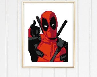 Deadpool  cross stitch pattern/deadpool crossstitch/marvel cross stitch/deadpool pattern/deadpoolstitch/ #03-004