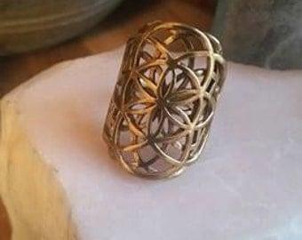 Tribal Brass, Flower of Life Ring, Tribal Ring, Sacred Geometry 3D Dimensional Ring