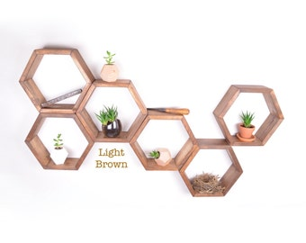 6 Honeycomb shelves, Hexagon Shelves, Geodesic Shelves, Geometric Shelves, Nursery Shelves, Hexagon shelf, Floating Shelf, Floating Shelves