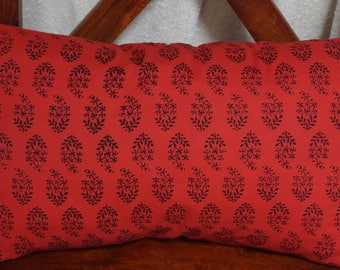 Series 14 Punjab: Cover 30x50cm (12 x 20) cushion, cotton, red, black, Indian traditional motifs.