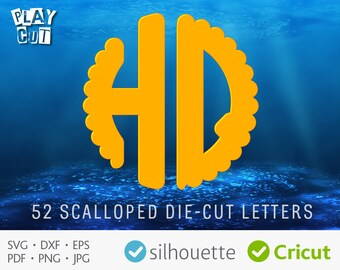 SCALLOPED FONT SVG dxf Cut Files Circle Initials svg Round 2 Letter Monogram Svg Png Pdf Eps for Cricut Silhouette Scallop Alphabet download