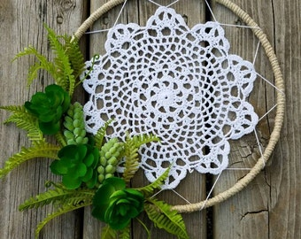 Succulent Doily Dream Catcher