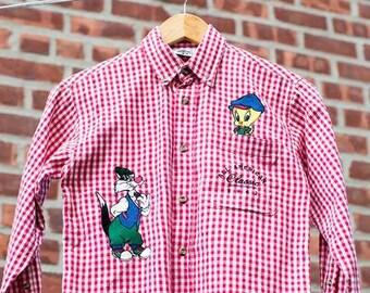 Boys Vintage Looney Tunes Plaid Button Down Shirt Size 6/7