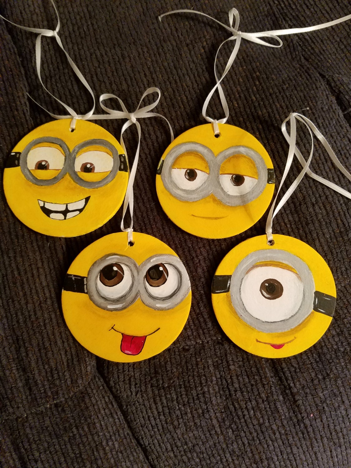 Set Of 4 Minion Christmas Ornaments