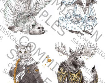 Fancy Animal Illustration - Personalized Commission