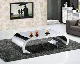 stainless steel curved mirror finish coffee table
