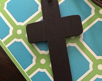 Simple wooden cross pendant (w/leather necklace.)