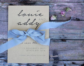 Personalised Save The Date Wedding Invitations – CHOOSE YOUR DESIGN – Recycled Kraft Paper – Custom Wedding Stationery