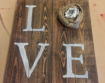 Love Sign with burlap rosette