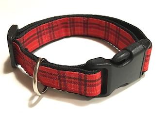 Dog Collar - Hundehalsband - Red Plaid - SMALL & MEDIUM