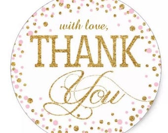 "24 PCS ""With Love Thank You"" Glitter Sticker, Seals, Scrapbook Supplies, Stationary, Paper, Paper Stickers, Stickers, Party Supply"