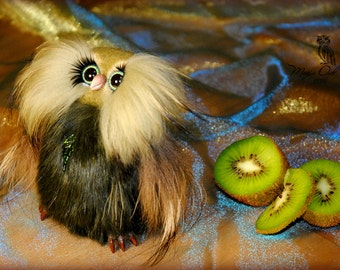 Kivvi the Owl - 100% Handmade Needle Felted Wool Animal