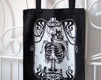 handprinted cotton tote skeleton black occult