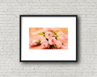 Beautiful Pink Crocuses ~ Spring Crocus ~ Spring Watercolor ~ Instant Download ~ Crocus Art ~ Pink Wall Art ~ Home Decor