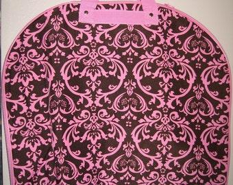 Pink & Brown teal DAMASK Garment bag FREE personalization