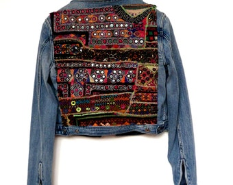 Denim Jacket embroidered with Indian tribal embroidery