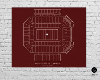 "Oklahoma Memorial Stadium Print - 8"" x 10"" - Fan Art - Oklahoma Sooners 