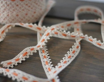 VINTAGE Ecru/Off White & Peachy Tangerine Cotton Cluny Lace - 3 yards