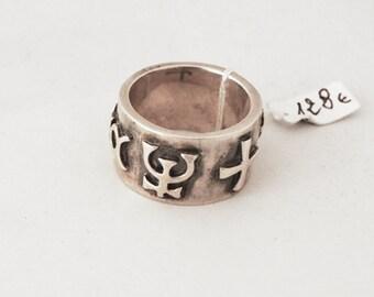 925 Silver esoteric symbols ring