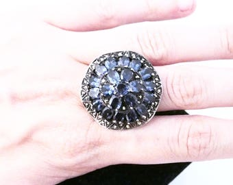 Big Victorian silver ring and Iolite stones