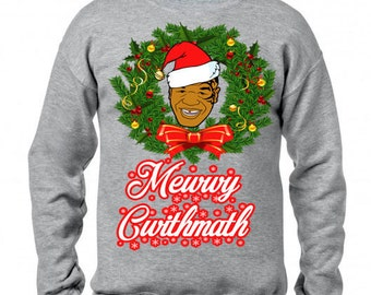 New Mike Tyson Merry Christmas Funny Xmas Sweater Jumper // Grey Sizes Small-XXL