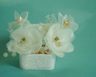 Silk flower hairpins romantic rhinestone hair clips hair grips crystal bridal jewelry bride headpiece wedding accessories