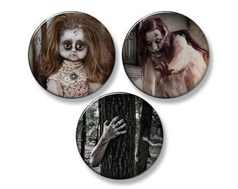 """CREEPY Zombie/Horror Fridge Magnet Set - 3 Large 2.25"""" Round Magnets"""