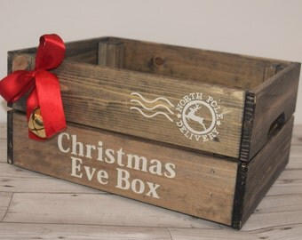 Rustic Christmas Eve Box / wood crate / Christmas gift box