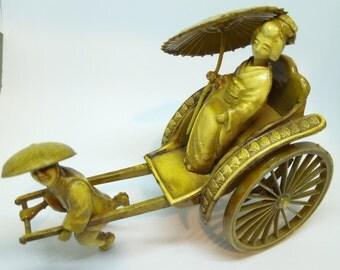 super rare! vintage GEISHA ricksha celluloid ornament-gold-