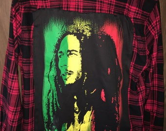 Distressed Up-Cycled Bob Marley Flannel