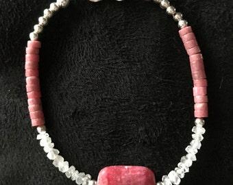 Rhodochrosite and Moonstone Bracelet Free Matching Earrings!