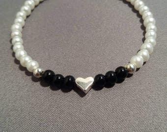 Glass Bead Heart Bangle Style Bracelet