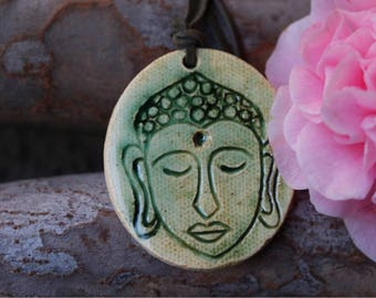 Handmade Stoneware Buddha Pendant Necklace