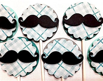 Little Man Mustache Cupcake Toppers, Lil Man Man Decorations, Lil Man Baby Shower, Lil Man Birthday, Shades of Teal and Gray, Plaid/Stripes